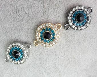 5 pcs x 15 mm Hamsa Evil Eye Connectors Evil Eye Bracelet  Evil Eye Jewelry