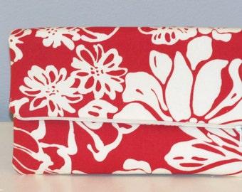 Clutch Bag / Clutch Purse / Foldover  Zipper Clutch Bag / Zipper Pouch / Handbag /   Red and Natural Floral