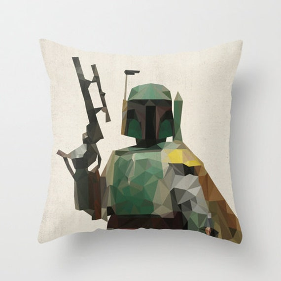 Boba fett star wars pillow cushion cover polygon by for Sci fi home decor