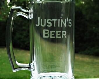 Monogram Beer Mug, Personalized Mug, Etched Beer Mugs, Groomsman Glasses, Wedding Glasses,