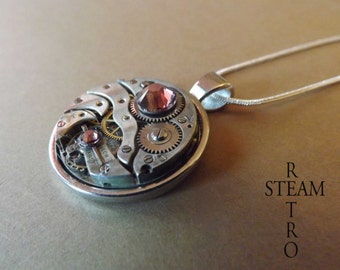10% off sale17 Vintage Rose Steampunk Necklace - Steampunk Jewelry by Steamretro -personalized jewelry - Christmas gift
