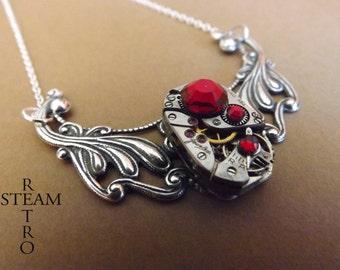 10% off sale16   Steampunk Clockwork Pendant & Siam Swarovski Crystals - Steampunk Jewelry -  personalized jewelry