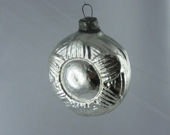 Ancient glass Christmas tree ornament / Xmas tree decoration: Silver SUN. Unusual Christmas tree ball / bauble of Lauscha glass. VINTAGE