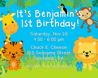 Zoo & Jungle Birthday Invite, 4x6 DIY digital file