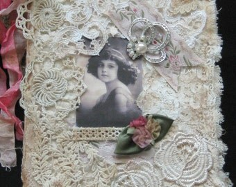 Shabby Chic Fabric Journal / Book - Altered Art - Mixed Media - Book Collage - Vintage Trims