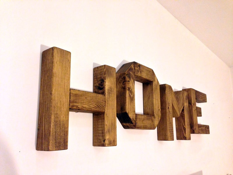 Large wooden letters h o m e for Large wooden letters