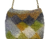 Hand knit felted unique original design small clutch purse with detachable brass chain handle navy green gold and of white