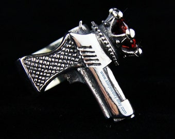 Steampunk Pistol ring sharpshooter ring whit a large red crystal  ---925silver ring