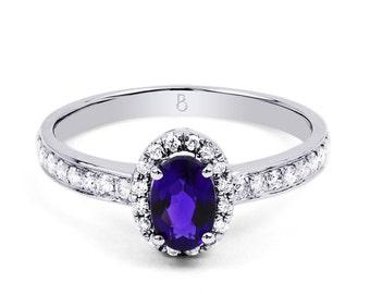 18ct White Gold Tanzanite & Diamond Halo Engagement Ring 0.32ct 2mm