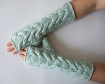 Knitted of 100 % soft MERINO wool. Light BLUE fingerless gloves, fingerless mittens, wrist warmers. HANDMADE.