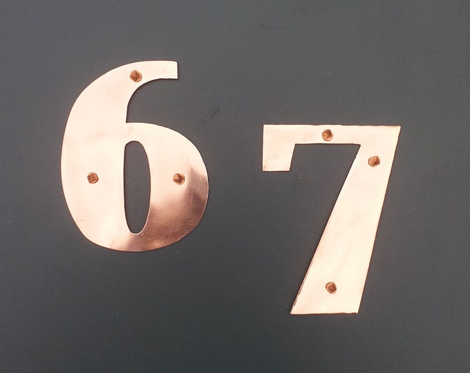 "Art Deco 75mm/3"" high copper house numbers -  custom made in polished and hammered finishes"