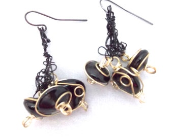 Black and Gold Stone Wire Knitted Earrings