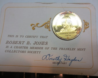 1970 and 1972 Franklin Mint Charter Membership Society Coin #00131