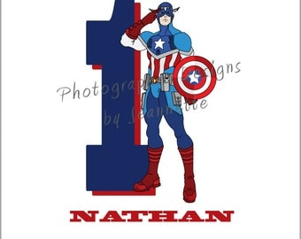 DIY Iron-On - Captain America iron on personalized with Child's Name and/or Age