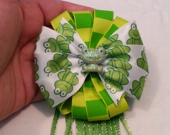 Sweet Green and White Satin & Yellow and Green Striped Hair Bow Clip W/ Shimmery Frog Accent