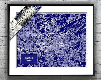Dayton Ohio Blueprint Map Poster Art Print Several Sizes Available