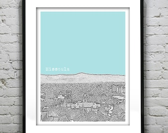 Missoula Montana Poster City Skyline Art Print MT