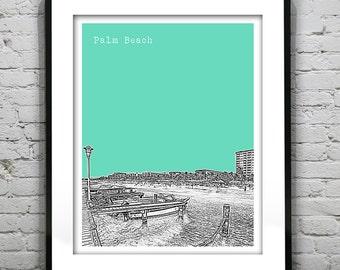 Palm Beach Aruba Skyline Poster Art