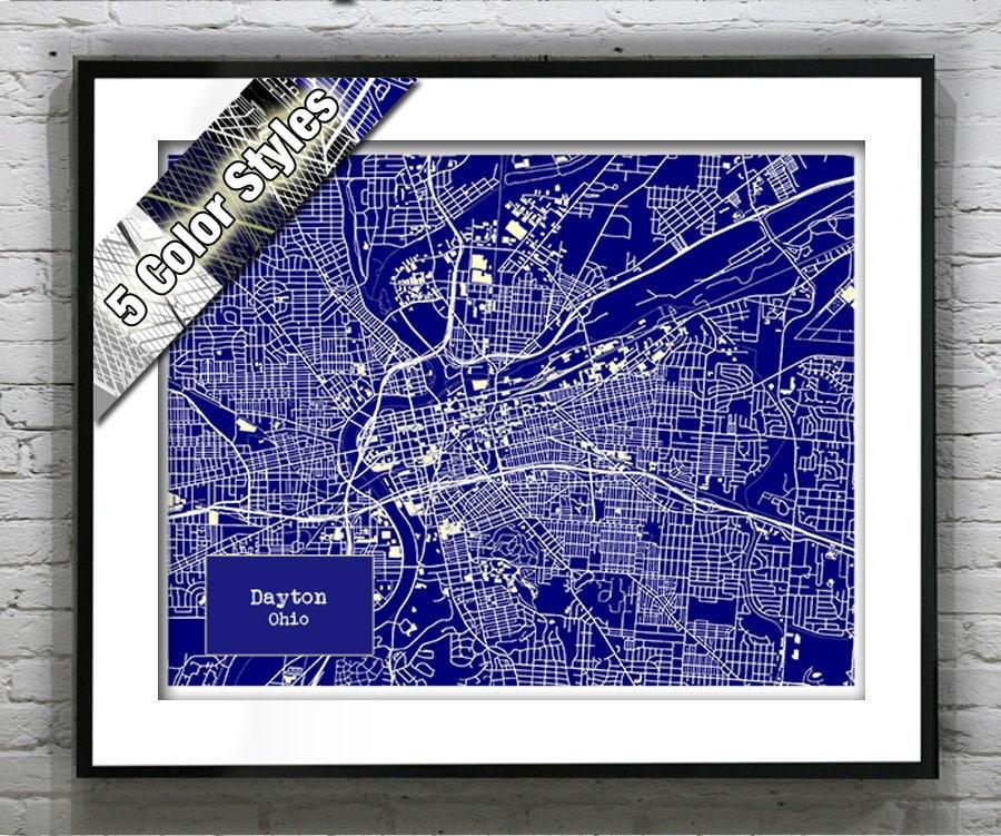 Dayton Ohio Blueprint Map Poster Art Print Several Sizes