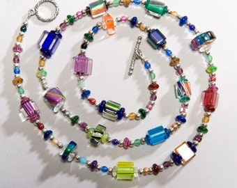 Colorful Cane Glass Necklace