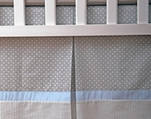 Custom Crib Skirt / Dust Ruffle fully lined with Gray White and blue polka dot and Stripes / box pleat skirt / adjustable or gathered skirt