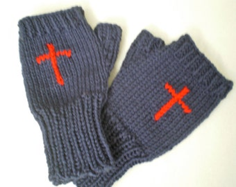 Knitted, Soft Fingerless Woman Gloves, with Red Cross 1 size fits all, in Blue