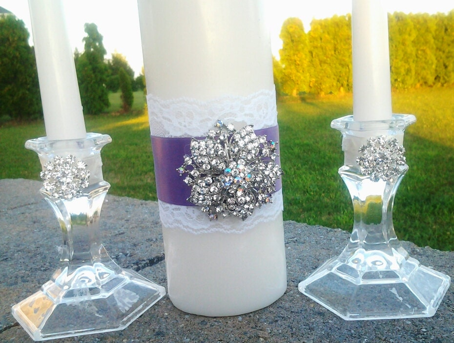 White Purple Wedding Ceremony Unity Candle Set Brooch Crystal