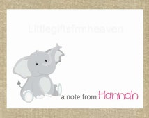 8 Elephant Notecards- elephant stationery, note card, childrens Kraft card, custom stationery, printed note cards, personalized card