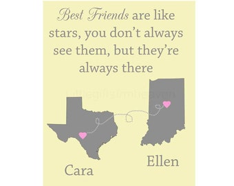 Best Friends Personalized Print- best friends forever, travel moving away, personalized map, custom gift friend, bridesmaids gift