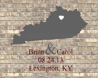 Custom Wedding Brick Map Print- wedding states map, 1st anniversary gift, rustic wedding gift, engagement print, long distance love