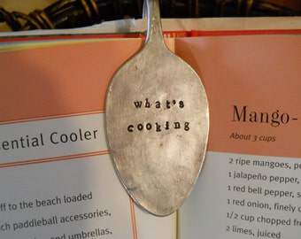 Vintage Silver Plate Silverware Spoon Bookmark/Cookbook Clip/ Fell Asleep Here/What's Cooking
