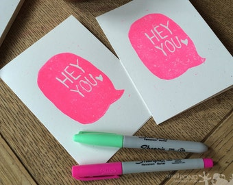 Hey You Talk Bubble -- Fluorescent Pink Block Print Notecard - Recycled, Hot Pink