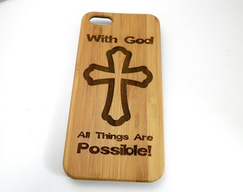 "Christian Cross iPhone 7 Plus Case ""With God All Things Are Possible"" Eco-Friendly Bamboo Wood Cover Jesus Christ Lord iMakeTheCase"
