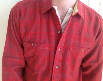 L/S Red & Blue Plaid Wool Button-Down Shirt - Large