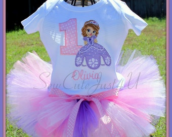 Sophia the First Personalized Birthday Number Shirt and Tutu Set