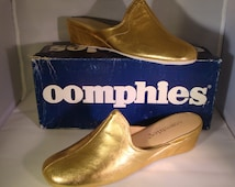Vintage OOmphies Granada Classic Gold Leather Slippers/ Shoes (1980s) Size 7 (New Old Stock)