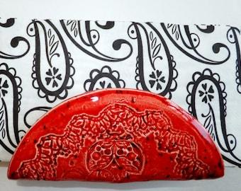 Red Ladybug Napkin Holder, Taco Holder, Handmade Ceramic Pottery