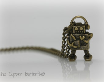 Little Love Bot - The Geekery Nerd Collection - Antique Bronze Robot Necklace - 6140201