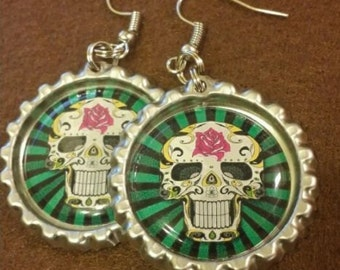 Day of the Dead Sugar Skull Bottle Cap Earrings