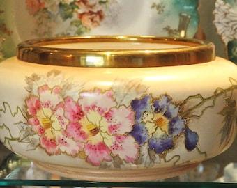 1800s Royal Bonn Porcelain Large Jardiniere Antique Victorian Art Nouveau Franz Anton Mehlem Germany Hand Painted Flowers Floral Botanical