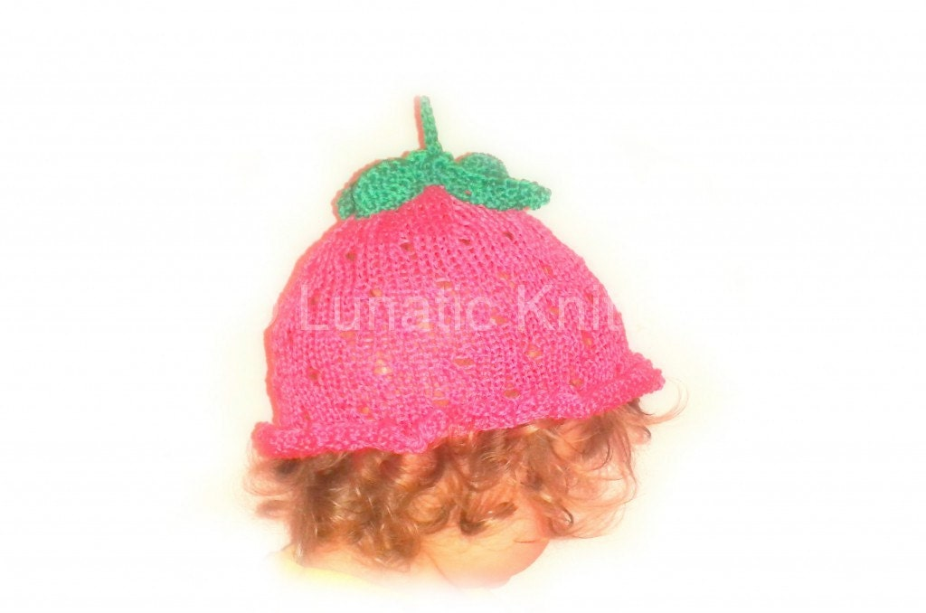 Instant download knitting PATTERN for Baby Strawberry Hat