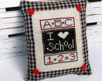 Teacher ABC 123 cross stitch sampler pillow gift
