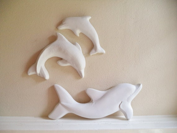 Dolphin wall decor, wall hanging dolphin sculptures, beach house decor, bathroom wall decor