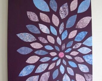 Purple and Blue Flower Papercraft Canvas Art