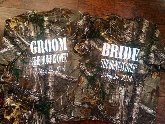 The hunt is over camo couples bride and groom by polkadotpeeps for Country over party shirt