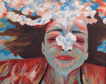 Original oil painting, underwater painting, underwater figure, swimming figure, underwater portrait, bubbles, floating, bright colors