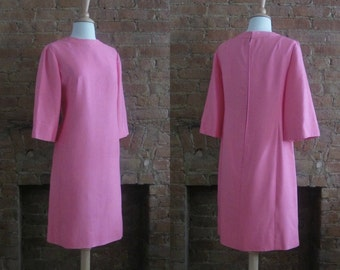 1960s Suzy Perette pink shift dress | 60's Modern Mid Century Classic MCM | M to L