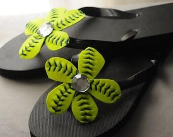 Softball Flower Shoe Clips