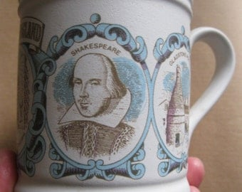 Large vintage Denby stoneware mug with images of Shakespeare and England