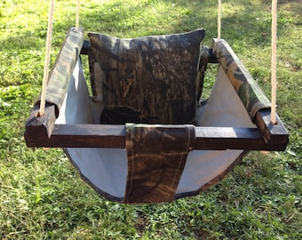 Outdoor Baby Swing with Support Pillow, Fabric Swing, Toddler Swing, Baby Hammock, Cloth Mossy Oak Baby Swing, Baby Swing Camoflage